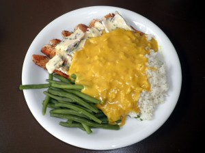 Chicken, rice with curry sauce